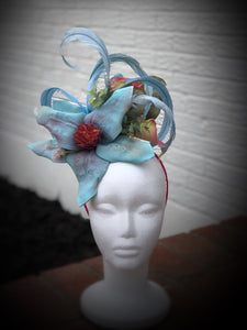 Light Blue and Pink Magnolia and Calla Lily Floral Feather Fascinator