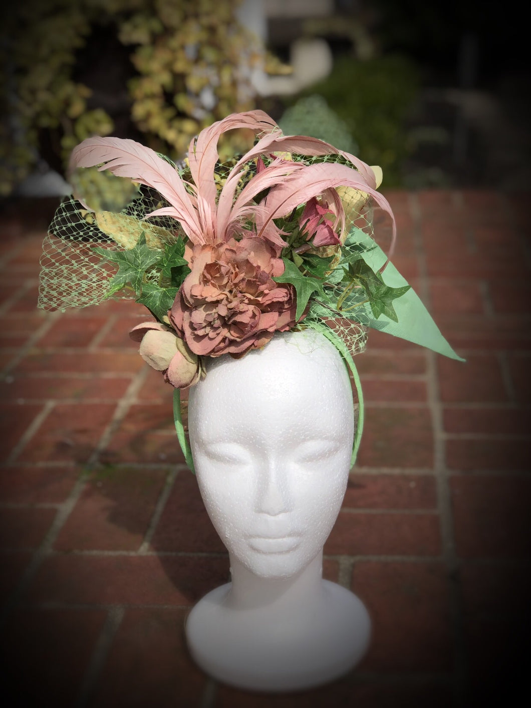 Dusty Pink and Pistachio Flowers and Feathers Fascinator Derby Hat
