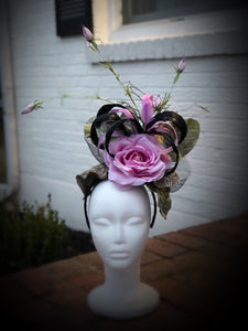 Copy of Black and Lavender Rose Fascinator Derby Hat