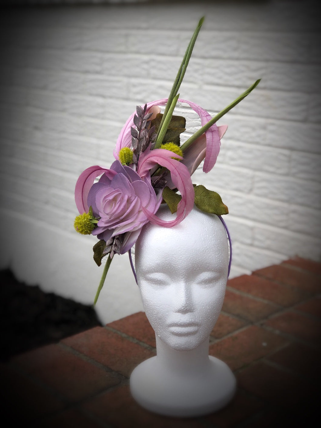 Lavender Rose Greenery Derby Hat