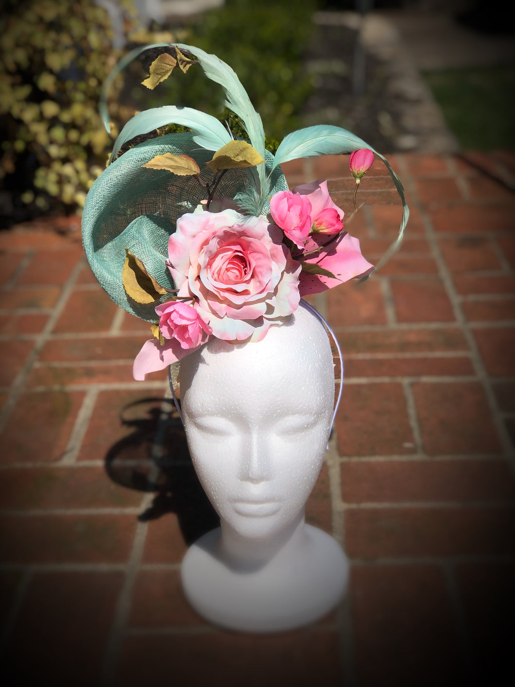 Aqua, Pink Rose Lily Fascinator Derby Hat