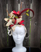 Ivory and Red Magnolia Floral Feather Fascinator