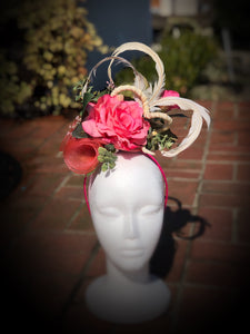 Melon Pink and Ivory Fascinator Derby Hat