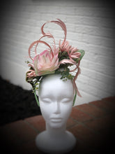 Dusty Pink Rose Flowers and Feathers Fascinator Derby Hat