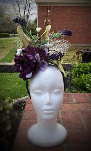 Purple and White Floral Fascinator