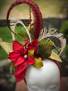 Red and Ivory Fascinator Derby Hat