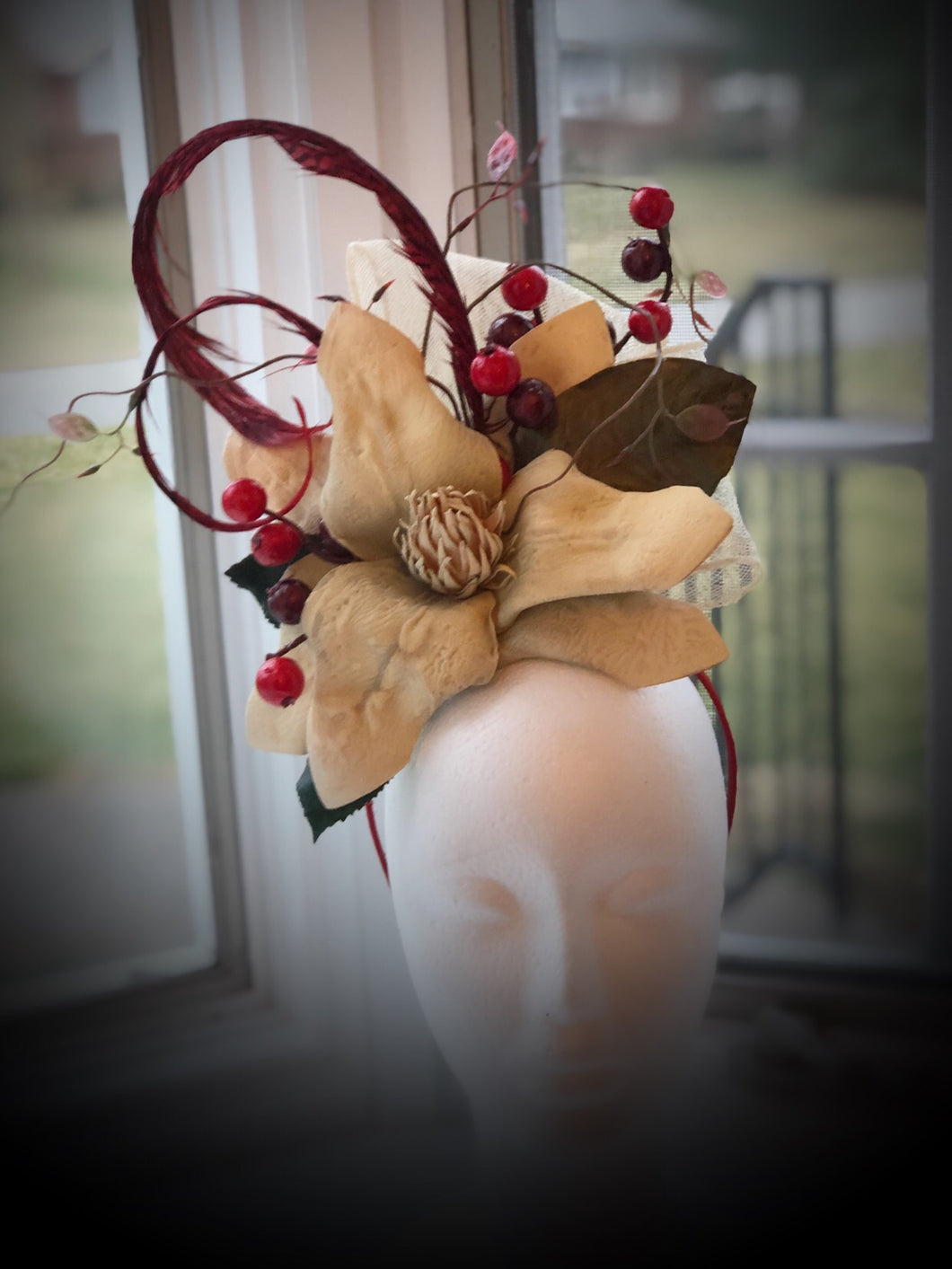 Ivory and Bright Red Floral Feather Fascinator
