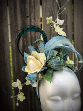 Ivory Rose Teal Floral and Feather Fascinator Derby Hat