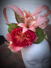 Coral and Peach Fascinator Derby Hat