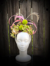 Lime Green Hydrangea and Lavender Crown Style Fascinator Derby