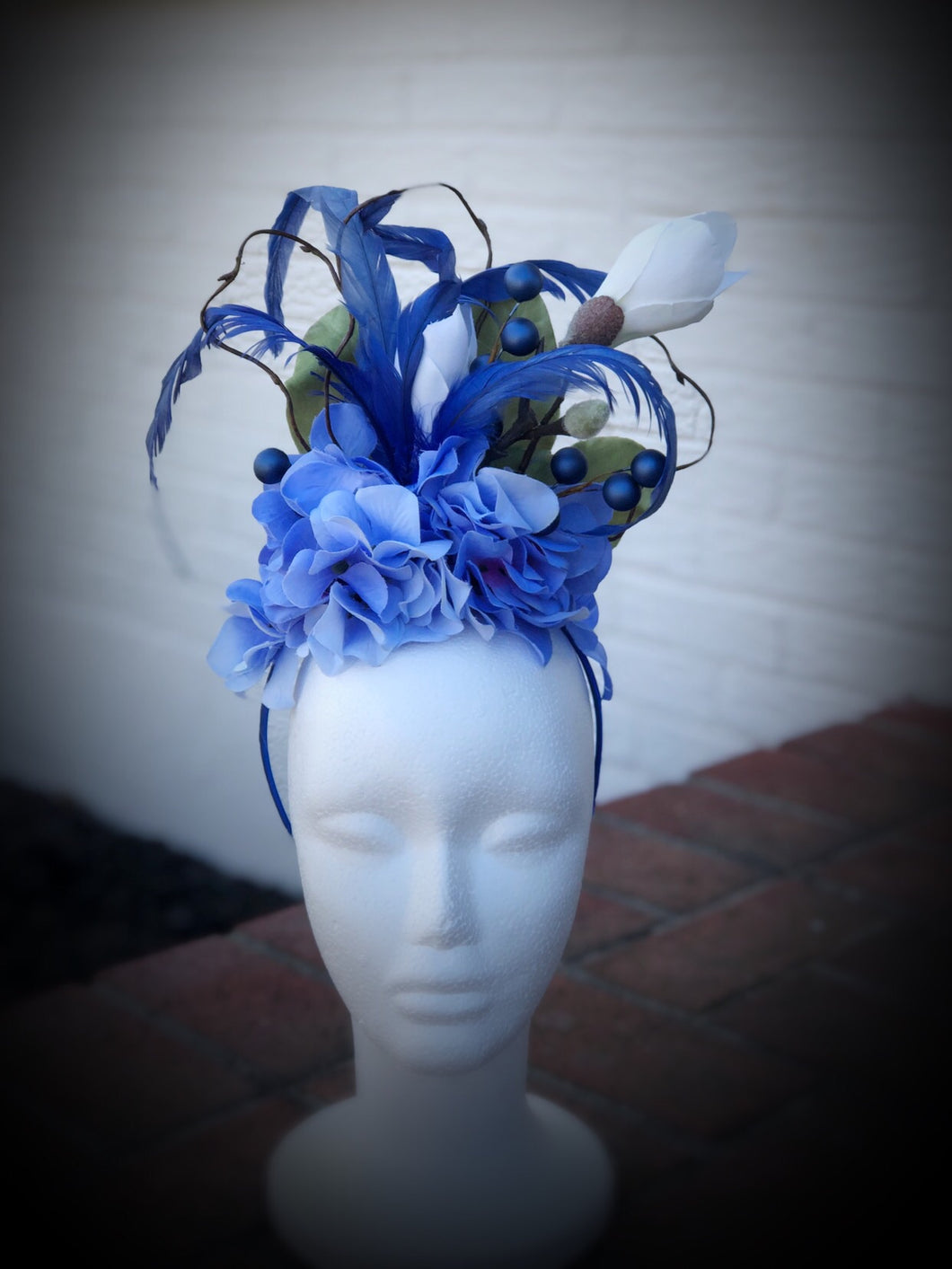 Blue Hydrangea and White Magnolia Fascinator Derby Hat