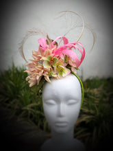 Pink and Lime Green Hydrangea Floral Rhinestone Fascinator Derby Hat