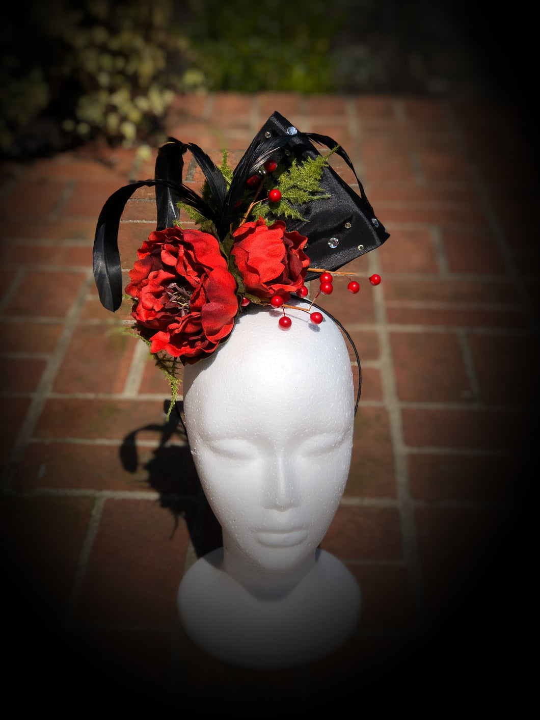 Red Peony Black Satin and Rhinestone Fascinator Derby Hat