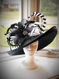 Large Black Derby Hat with Classic Black and White Accents