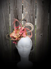 Dusty Rose Magnolia Ivory Feather and Floral Fascinator Derby Hat