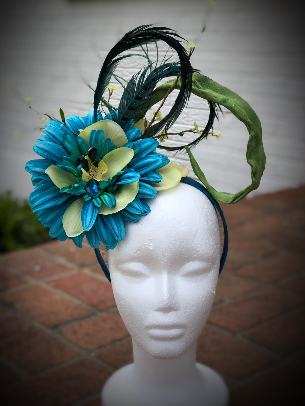 Turquoise and Lime Green Floral Feather Fascinator