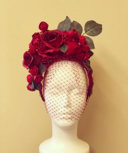 Red Bouquet of Roses Crown Style Fascinator Derby