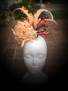 Peach Red Floral Feather Fascinator Derby Hat