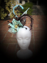 Aqua Brown Sinamay Magnolia Fascinator Derby Hat
