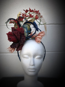 Large Burgundy, Navy, Ivory Fascinator Derby Hat