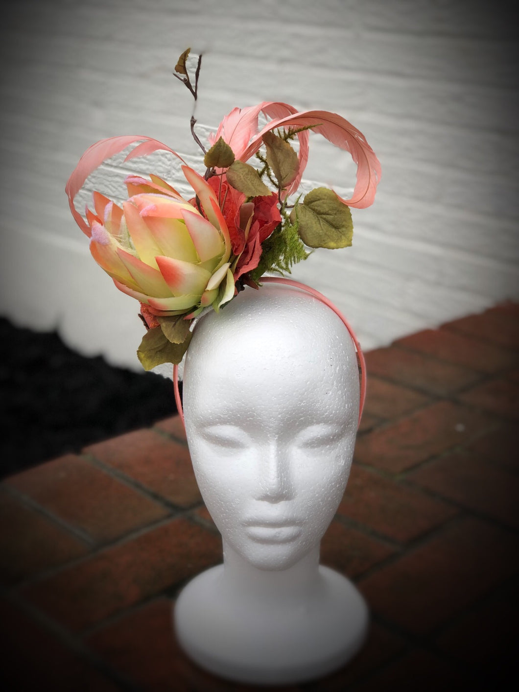 Coral and Lime Fascinator Derby Hat