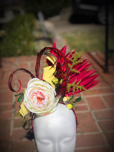 Yellow and Deep Red Fascinator Derby Hat