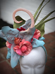 Light Blue and Coral Floral Fascinator