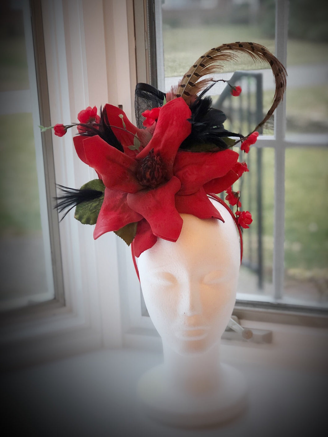 Bright Red and Black Floral Feather Fascinator