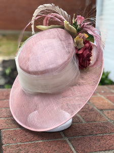 Blush Pink Mauve Derby Hat with and Ivory Accents