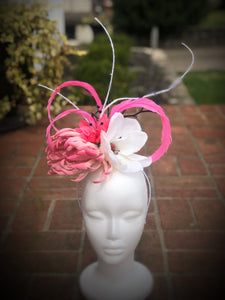 Pink White and Black Large Fascinator Derby Hat