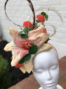 Cream and Coral Floral Feather Fascinator