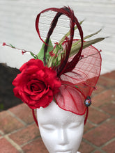 Red Rose Feathers Rhinestone Beetle Fascinator Derby Hat