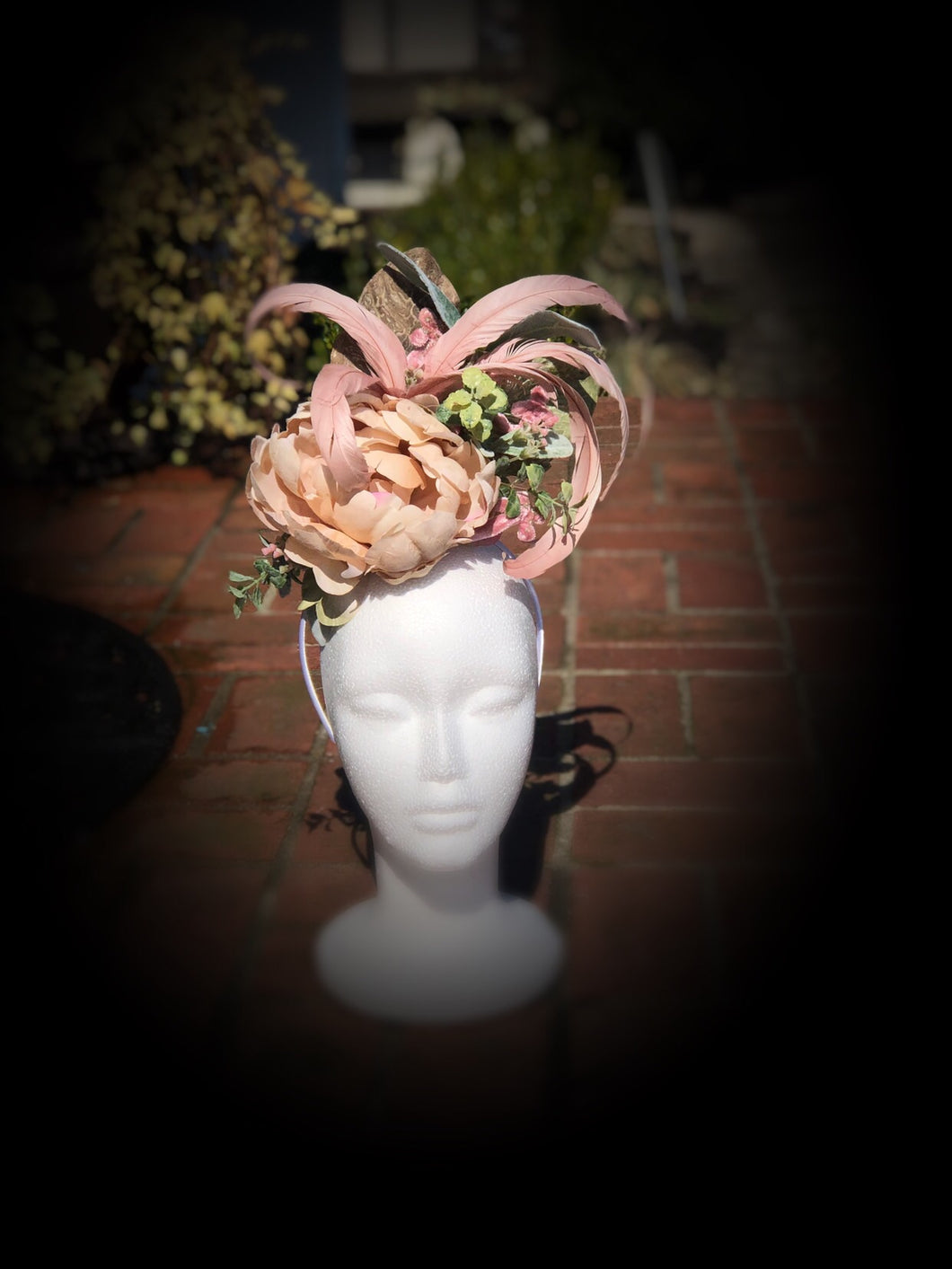 Dusty Pink and Ivory Fascinator Derby Hat