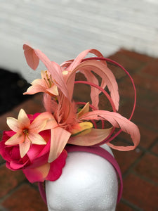 Coral and Peach Tiger Lily Fascinator Derby Hat