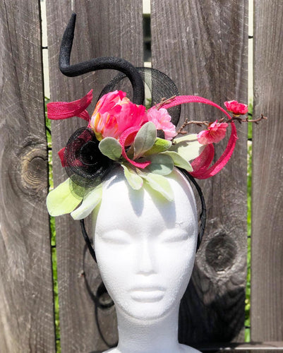 Hot Pink Floral and Sinamay, Black Netting Fascinator Derby Hat