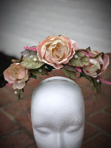 Blush Rose Double Halo Crown Style Fascinator Derby Hat