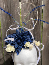Navy and White Corkscrew Sinamay Floral Fascinator Derby Hat
