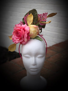 Butter Yellow and Pink Fascinator Derby Hat No Feathers