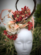 Deep Red, Cream and Coral Floral Feather Fascinator