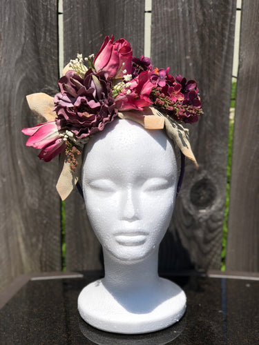 Purple and Pink Floral Crown Style Fascinator Derby