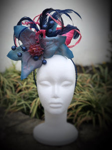 Deep Blue and Pink Floral Feather Fascinator