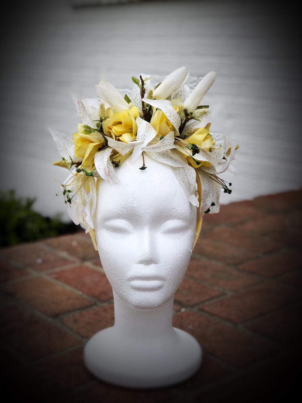 Yellow Rose and White Tiger Lily Crown Style Fascinator Derby