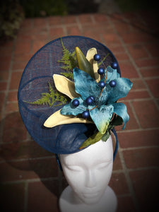 Deep Blue Lily Large Fascinator