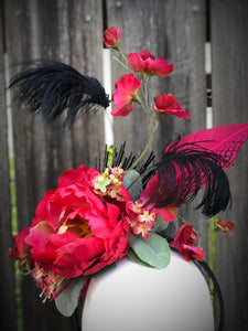 Hot Pink Peony and Black Feather Fascinator Derby Hat