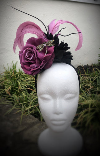 Purple and Black Butterfly Fascinator Derby Hat Fascinator