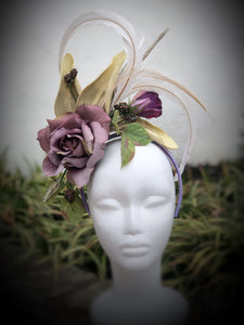 Copy Lavender Rose Ivory Feathers Fascinator Derby Hat Fascinator