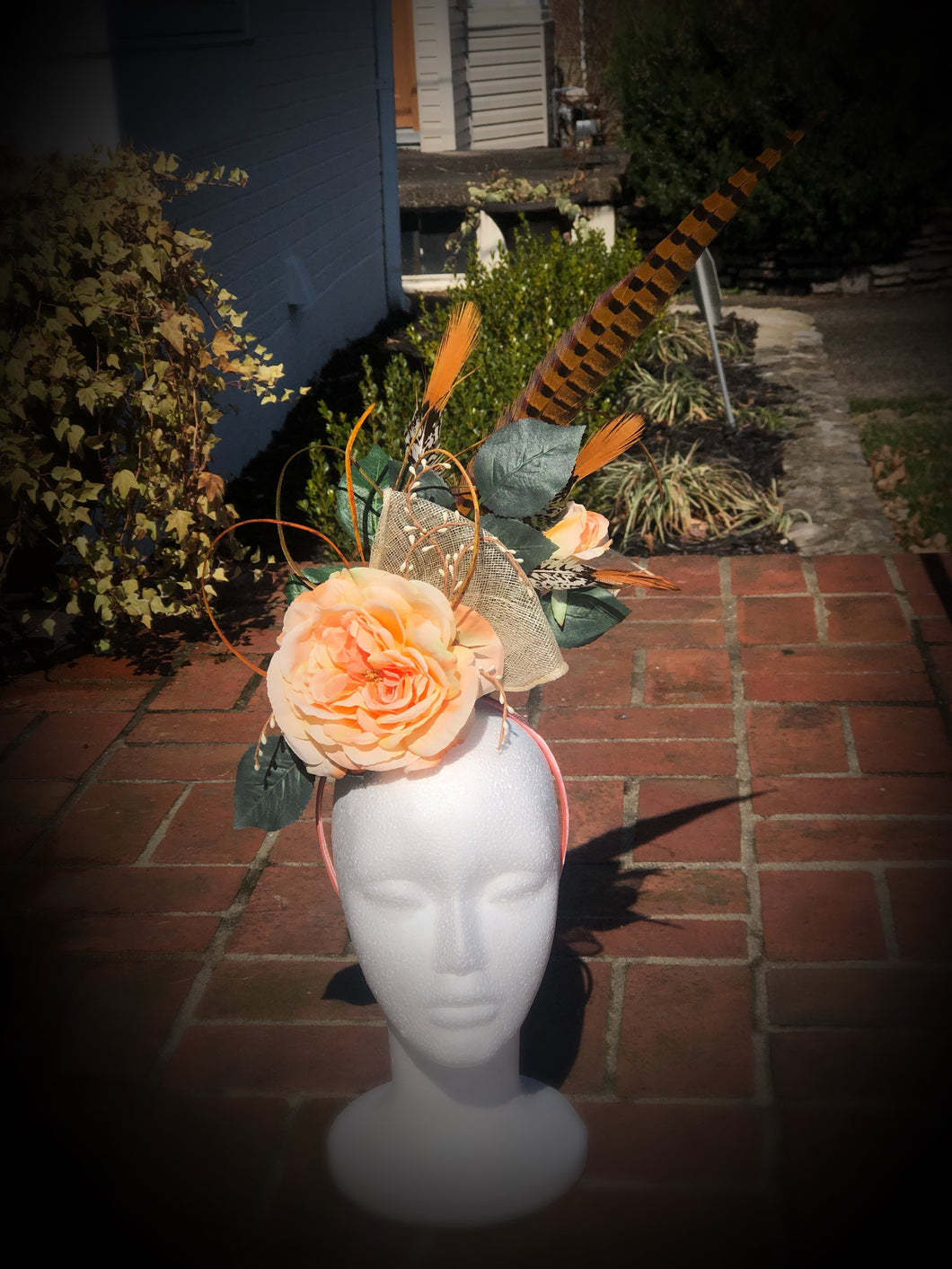 Peach and Ivory Fascinator Derby Hat