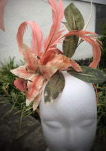 Coral and Ivory Tiger Lily Floral and Feather Fascinator Derby Hat