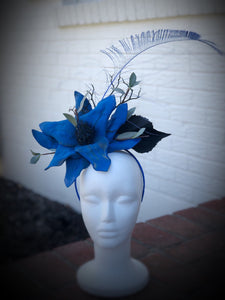 Royal Blue and Black Floral Feather Fascinator