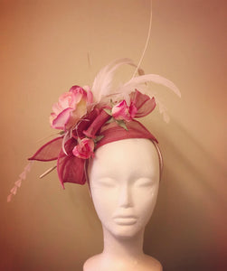 3 Pink Rose Fascinator Derby Hat